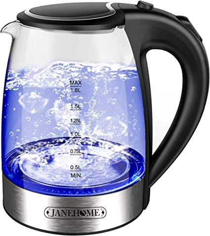 Janehome Electric Kettle Glass Tea Kettle 1 8l With Blue Led For Boiling Water Bpa Free Hot Water Glass Kettle With Auto Shut Off And Boil Dry Protection For Coffee Tea Amazon Ca Home Kitchen