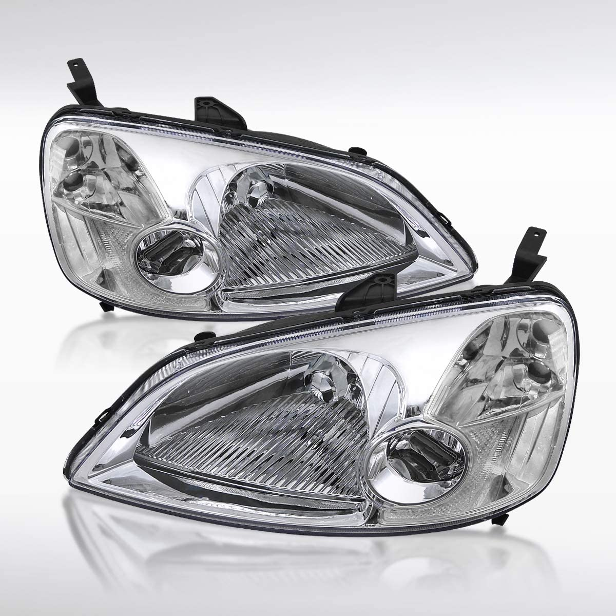 Autozensation for Honda Civic Smoke Tinted Lens OEM Style Headlights Clear Reflector