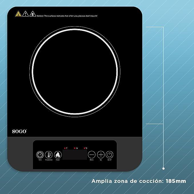 SOGO Placa de Inducción Portátil, Cocina de Inducción de 2000W, Superficie de Cristal Vitro Cerámica de Alta Resistencia Térmica, Temporizador, 8 ...