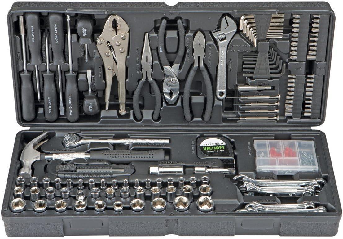 Pittsburgh 130 piezas Kit de herramientas con estuche mecánico juego de herramientas múltiples y accesorios con práctico organizador de transporte: Amazon.es: Bricolaje y herramientas