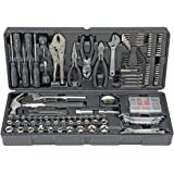 Pittsburgh 130 Piece Tool Kit with Case Mechanic Hand Tool Set Multi Tools Kit and Accessories with Handy Carry Organizer