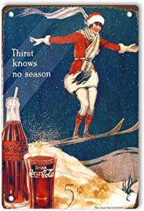 Ovonetune Drinks Coca Cola Posters Skiing Snow Woman Retro Tin Signs, Vintage Decoration Aluminum Metal Tins Sign for Men Women, Wall Decor for Home House Bars Restaurants Cafes Pubs 12x8 Inches