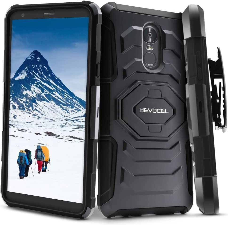 LG Stylo 4 / LG Stylo 4+ Plus Case, Evocel [New Generation Series] Belt Clip Holster, Kickstand, Dual Layer for LG G Stylo 4 / LG Stylo 4 Plus (2018 Release), Black (EVO-LGSTYLO4-XX01)
