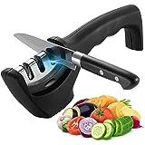 LISAPRO Afilador de cocina, afilador manual, afilador profesional, afilador de cocina de 3 etapas, hoja de cerámica / diamant