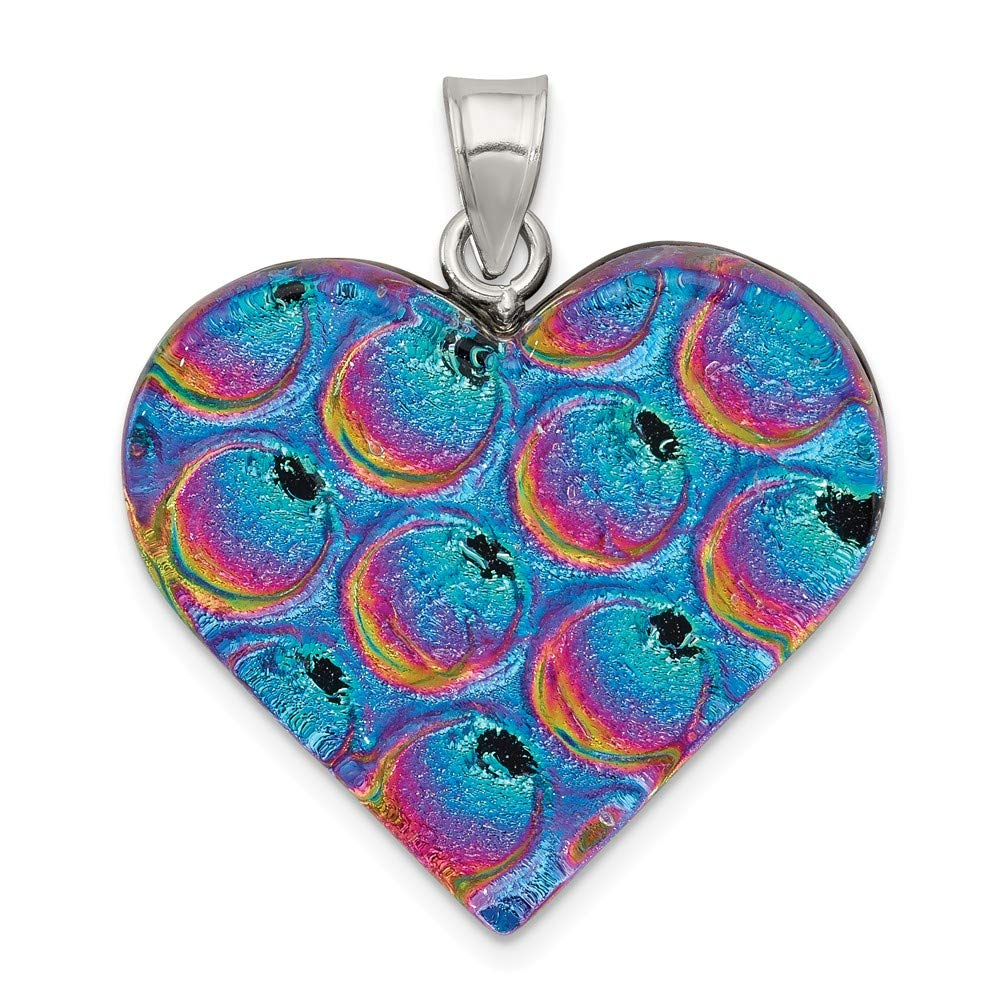 Sterling Silver Blue Pink Dichroic GlaHeart Pendant 36 mm 34 mm Themed Pendants /& Charms Jewelry