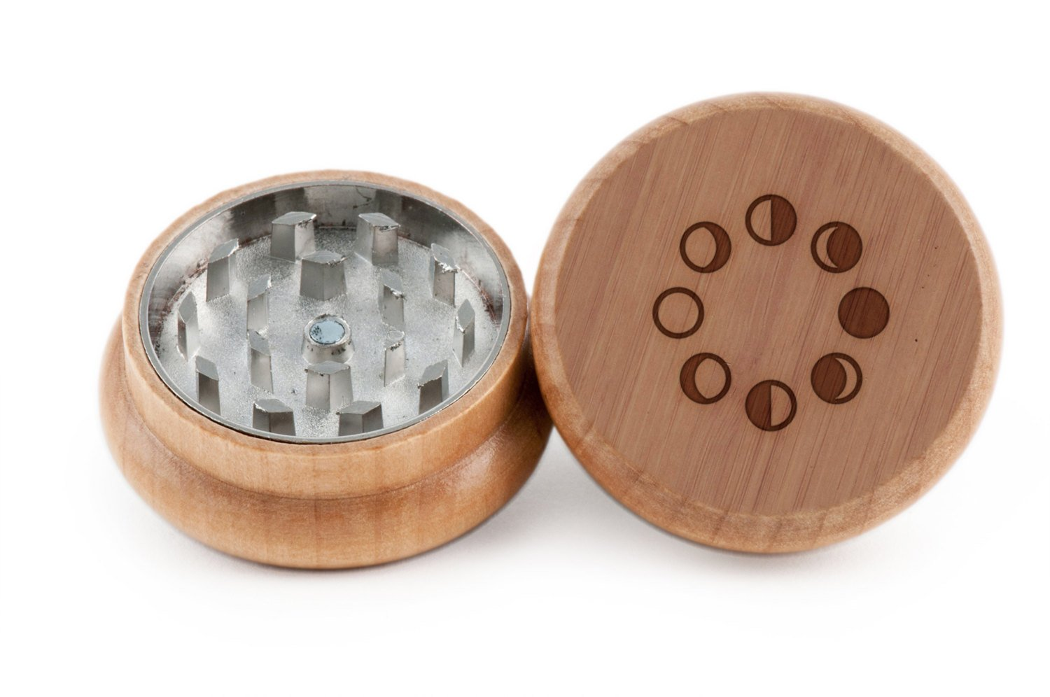 GRINDCANDY Spice And Herb Grinder - Laser Etched Lunar Phases Design - Manual Oak Pepper Grinder