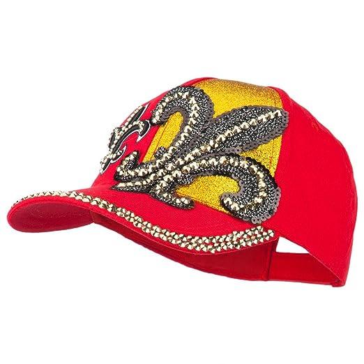 9b912c495d9 Fleur De Lis Rhinestone Embroidered Cap - Red OSFM at Amazon Women s ...