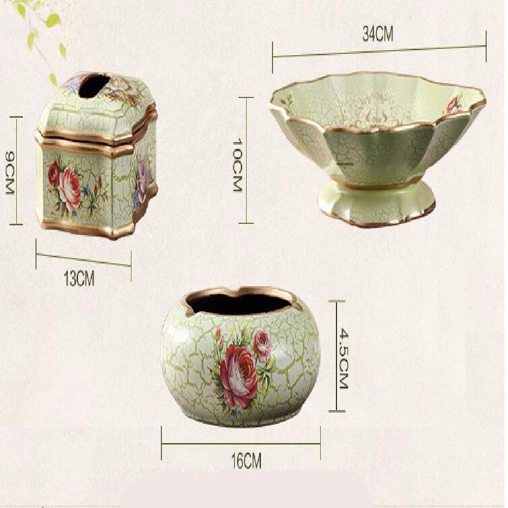KHSKX Cuajado de estilo europeo cerámica sala de estar, cerámica europeo creativa decoración para el hogar, adornos de resina, regalos de boda movido, ceniceros, platos de fruta, cajas de pañuelos,D a9b82a