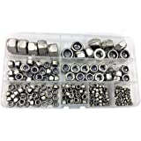 HVAZI 205pcs Metric M2.5 M3 M4 M5 M6 M8 M10 M12 Stainless Steel Nylon Hex Lock Nut Assortment Kit