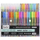 Newdoer - Penne colorate ad inchiostro gel, confezione da 48, a gesso liquido, il miglior set di penne per adulti, per colorare libri, disegnare e scrivere, con punte da 1,0mm (12metallizzati + 12 brillanti + 12 fluorescenti + 12 a gesso liquido) 48 pack
