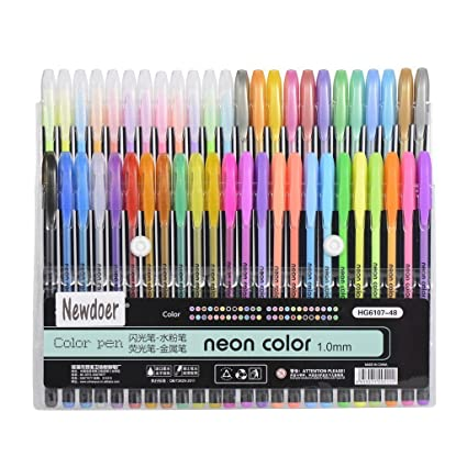 Amazon.com : Newdoer 48 Packs Color Gel Ink Pens, The Best Gel Pens ...