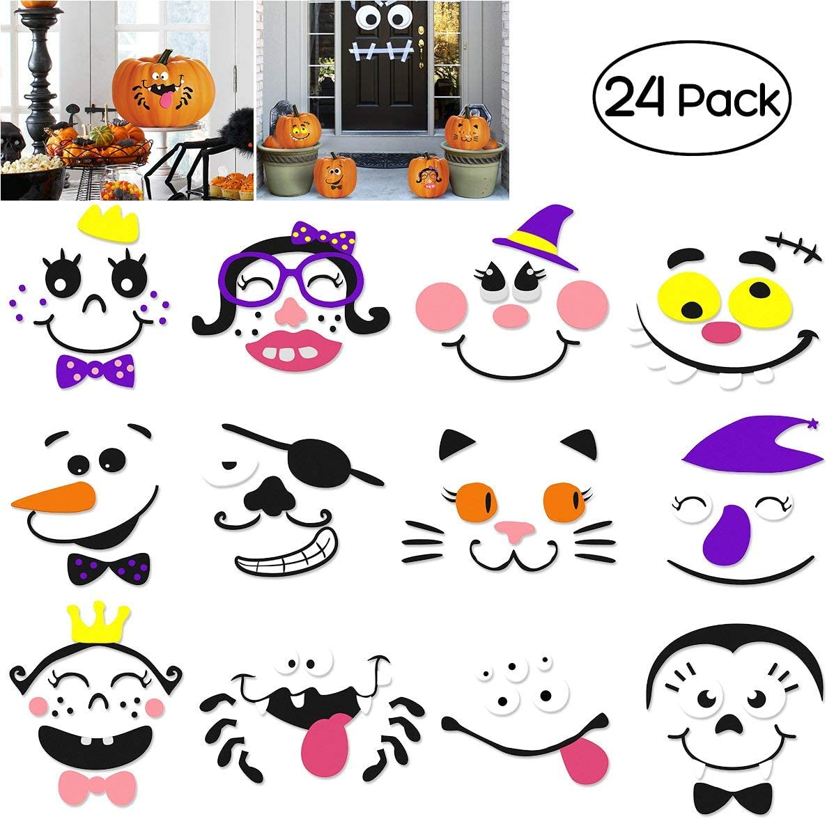 Foam Pumpkin Decorations Craft Kit, Halloween Crafts for Kids as Halloween Party Party Supplies, 24 Sets in 2 Packs