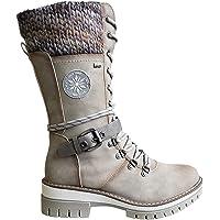 HFDHD Botas de Media Pantorrilla de Punto de Encaje con Hebilla para Mujer, Botas de Nieve para Mujer Resistentes al…
