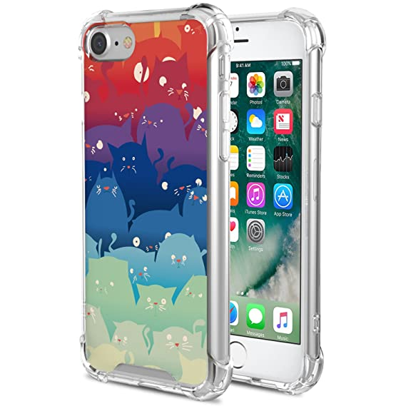 new arrival a6f37 7404c for iPhone 7 Case/iPhone 8 Case - MoKo Rigid Shock Absorption Slim Clear  Cool Pattern Case Protective Anti-Scratch Hard Back Cover for Apple iPhone  ...