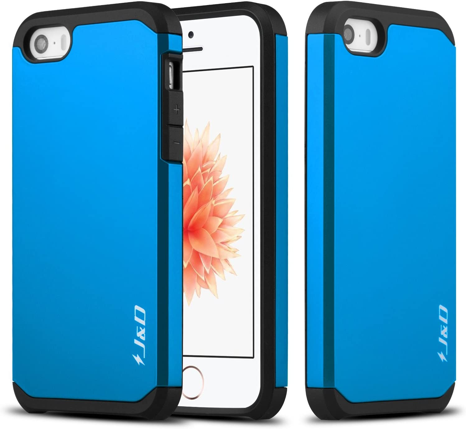 J&D Case Compatible for iPhone SE Case, Heavy Duty Dual Layer Hybrid Shock Proof Protective Rugged Bumper Case for iPhone SE Case, Blue