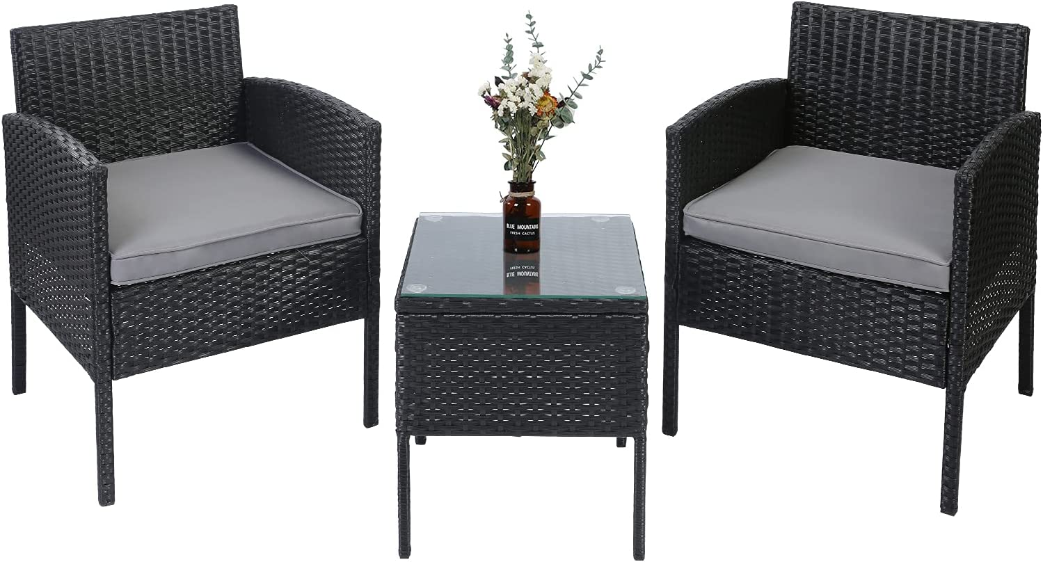 AGESISI 3 Pieces Outdoor Patio Conversation Sets PE Wicker Rattan Chairs Furniture Sets with Coffee Table, Suitable for Patio Garden Lawn Backyard Pool Clearance (Grey)