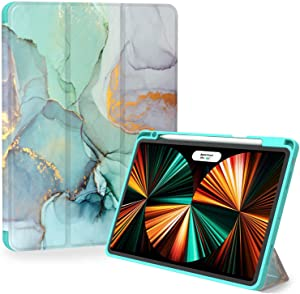 iPad Pro 12.9 Case 2021, Feams Protective Tri-Fold iPad Pro 12.9 2021 Case Soft Mint Green TPU Back Cover with Auto Wake/Sleep & Pencil Holder for iPad Pro 12.9 Inch 5th Gen, Green Marble