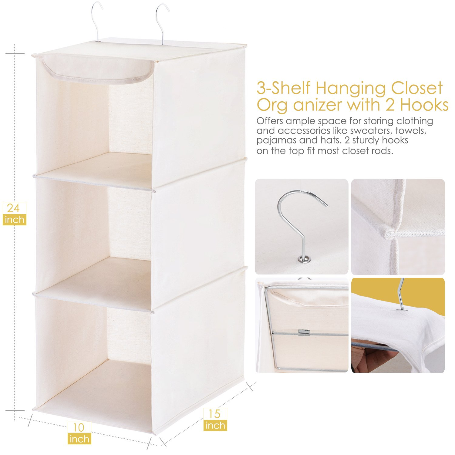 Amazon com maidmax hanging shelf closet organizer for home bedroom wardrobe clothes shoe towel sweater accessory unit storage with 2 hooks collapsible
