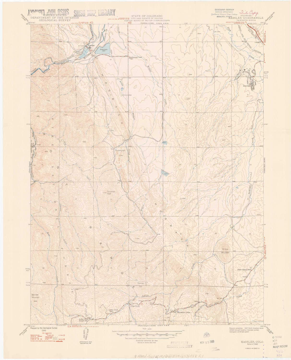 1948 27.3 x 22.1 in 1:24000 Scale YellowMaps Kassler CO topo map 7.5 X 7.5 Minute Historical