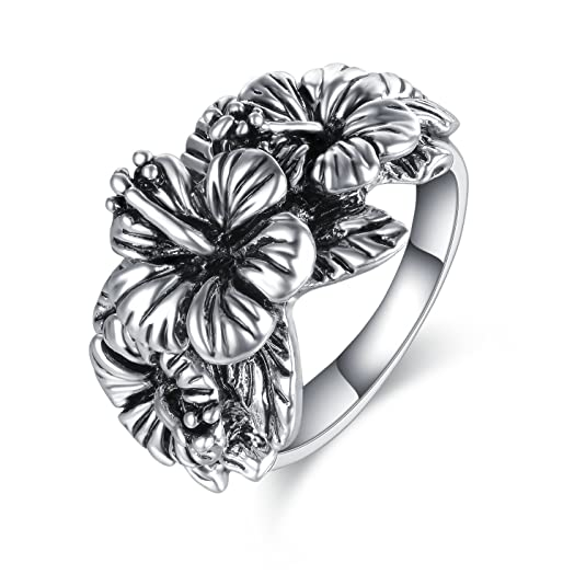 Mytys Silver Flower Ring for Women Vintage Jewelry Triple Hibiscus Girl Rings