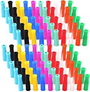 Kingrol 100 Pcs Silicone Straw Tips, Food Grade Reusable Silicone Tip Cover for 6mm Stainless Steel Straw