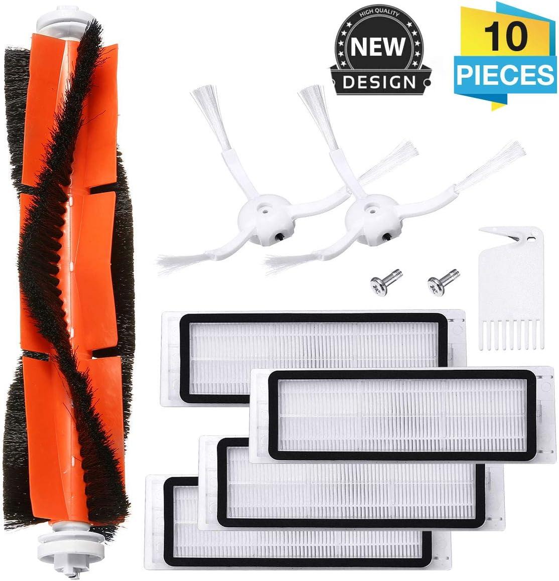Charminer Accesorios Compatibles para Aspiradora Xiaomi Vacuum 1/2 Robot Recambio de Roborock s50, 1 Cepillo Central + 2 Cepillos Laterales + 1 Auxiliar de Limpieza + 4 Filtros HEPA