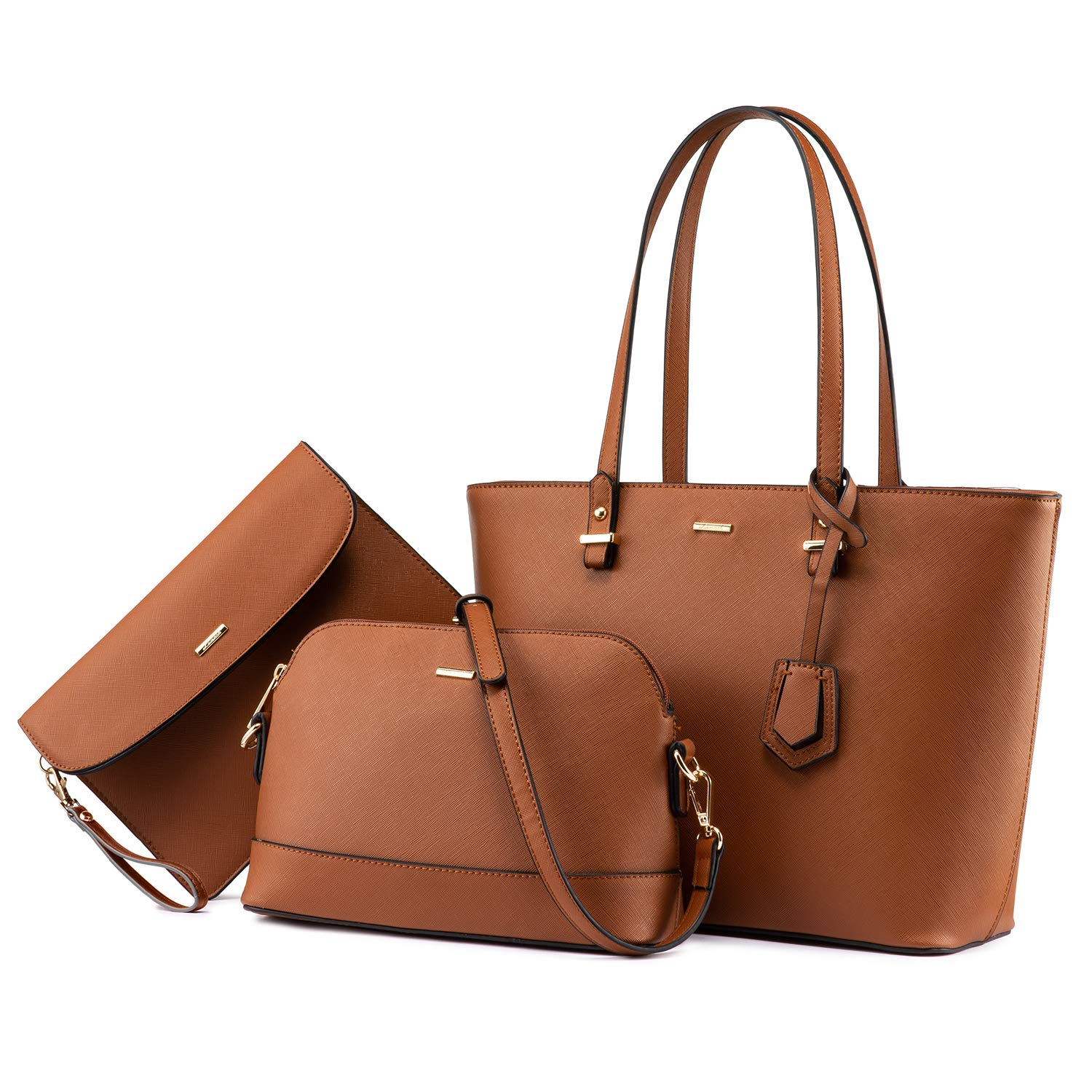 Handbags for Women Tote Bag Fashion Satchel Purse Set Hobo Shoulder Bags Designer Purses 3PCS PU Top Handle Structured Gift Fashion Brown by LOVEVOOK