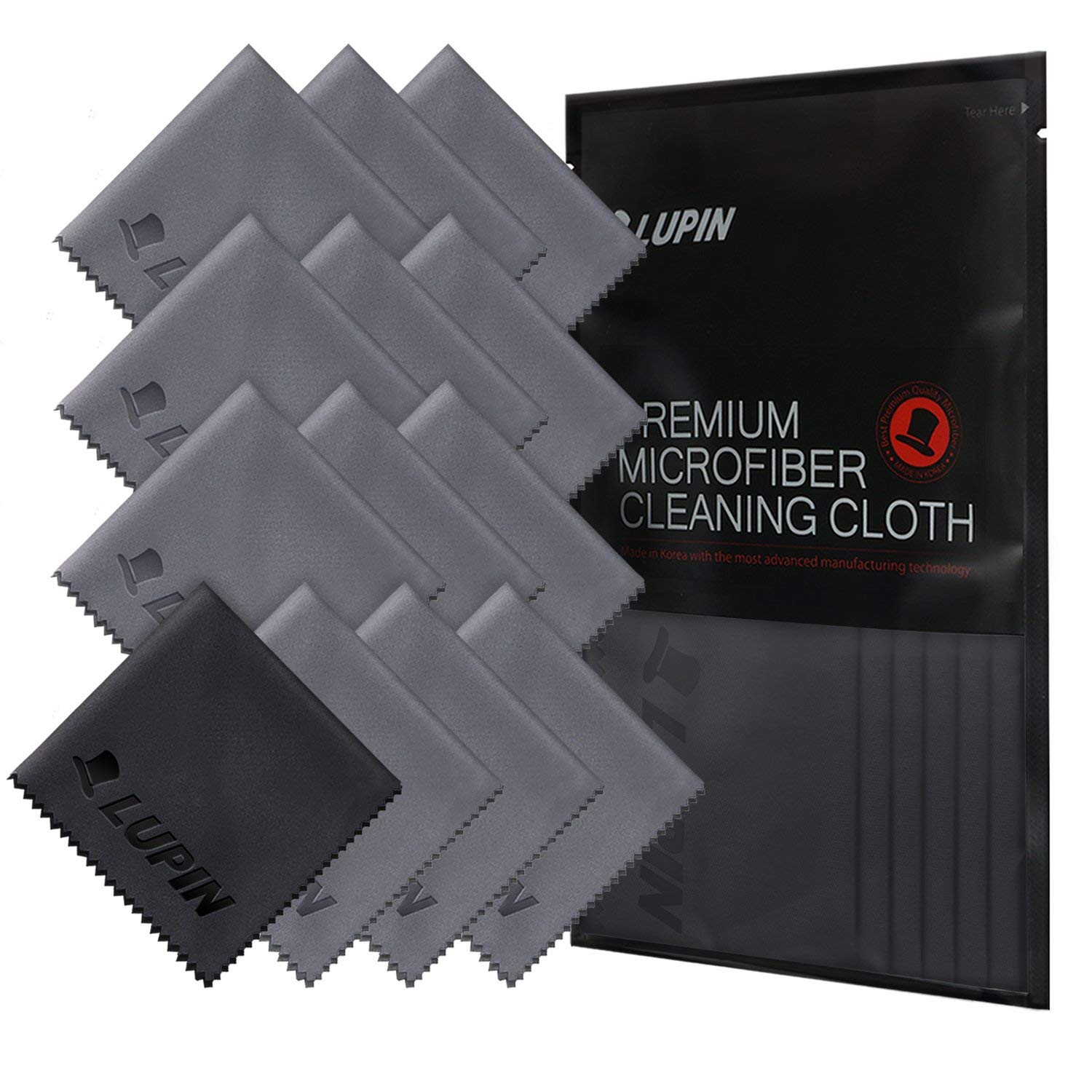 Lupin Microfiber Cleaning Cloths, 13 Pack Premium Ultra Lint Polishing Cloth for Cell Phone, Tablets, Laptops, iPad, Glasses, Auto Detail, TV Screens & Other Surfaces with Carrying Case - Gray by Ringke