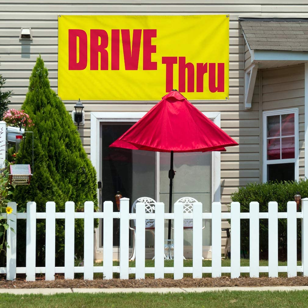 48inx96in Multiple Sizes Available Vinyl Banner Sign Drive Thru red Yellow Business Outdoor Marketing Advertising Yellow One Banner 8 Grommets