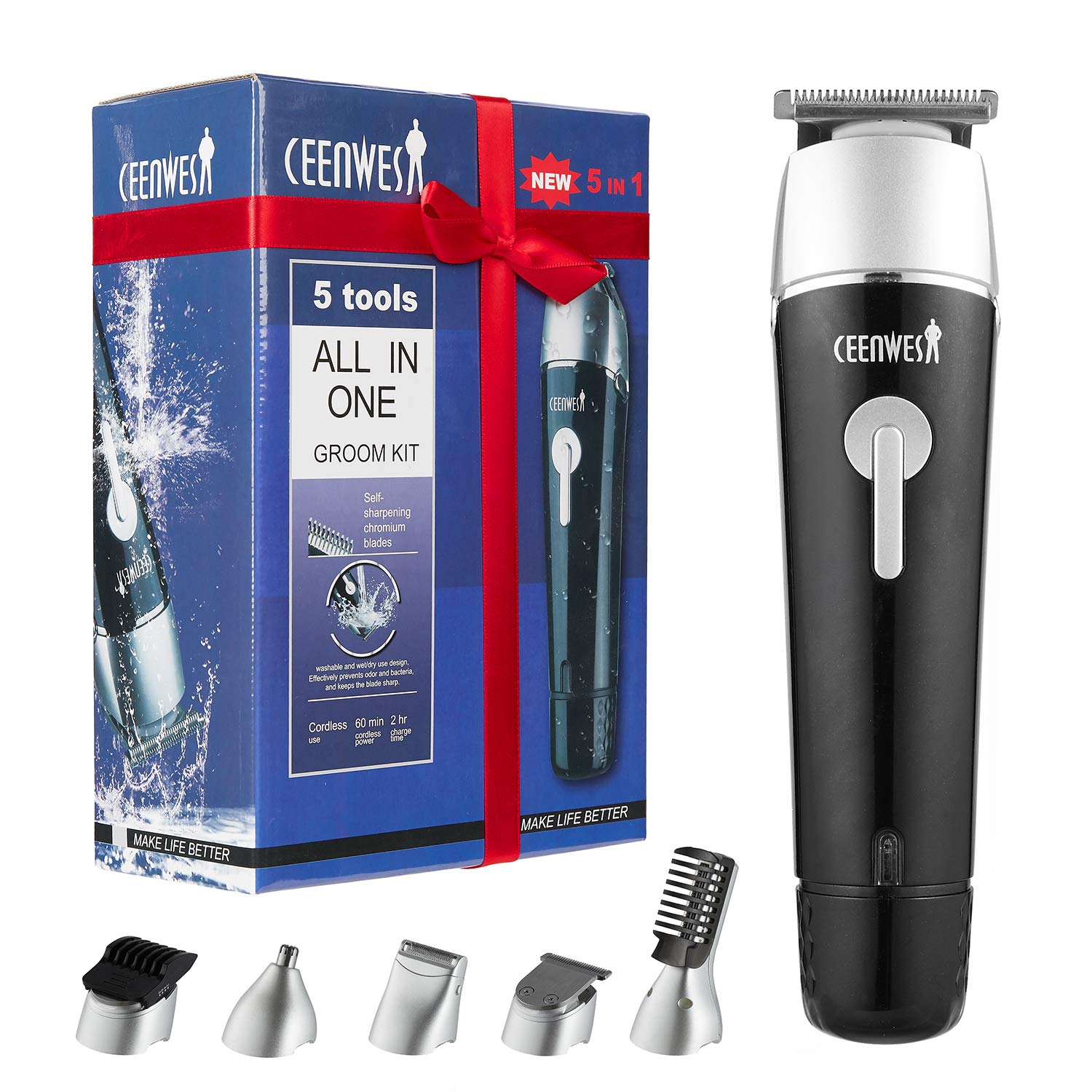 CEENWES Updated Version 5 in 1 Waterproof Man's Grooming Kit Hair Clippers Professional Beard Trimmer Dual Shaver Rechargeable Body Trimmer Nose Hair Trimmer Cordless Precision Trimmer by CEENWES