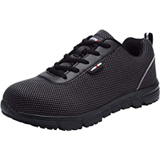 LARNMERN Steel Toe Work Safety Shoes Men Reflective Casual Breathable Outdoor Sneakers, LM30K (12, Pure Black) ...