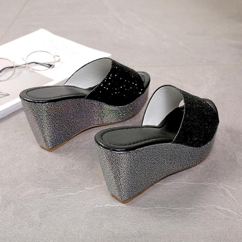 pantofole Sandali Koly Pantofole Donna Scarpe da punta aperte Flip Flop di pattini dell'alto tallone del cuneo (39, Silver)