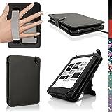 igadgitz Noir Etui Housse Cuir PU pour Kobo Touch 2, Kobo Glo HD 2015, Kobo Aura & Kobo Aura Edition 2 Folio Case Cover avec Courroie de Main & Support