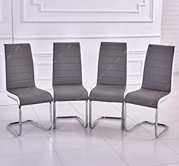 GIZZA Gray White Sides Faux Leather Dining Room Chairs Metal Chrome Legs High Back Kitchen Furniture