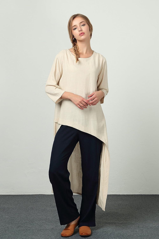 Sellse Womens Linen Cotton Simple Custom Dress Large Plus Size Clothing b56