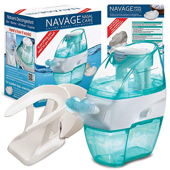Navage Nasal Care Essentials Bundle: Navage Nose Cleaner, 36 SaltPod Capsules, and Countertop Caddy. 116.90 if Purchased Separately, You Save 16.95.