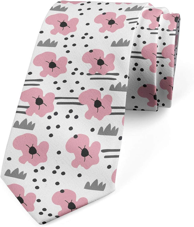 Ambesonne Necktie Pink Charcoal Grey and Grey 3.7 Scandinavian Floral Motif
