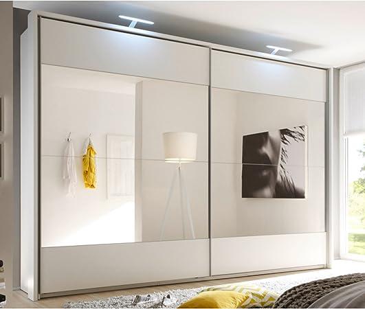 Diseño armario de puertas correderas Bronx 315 cm Color Blanco con Espejo Armario: Amazon.es: Hogar