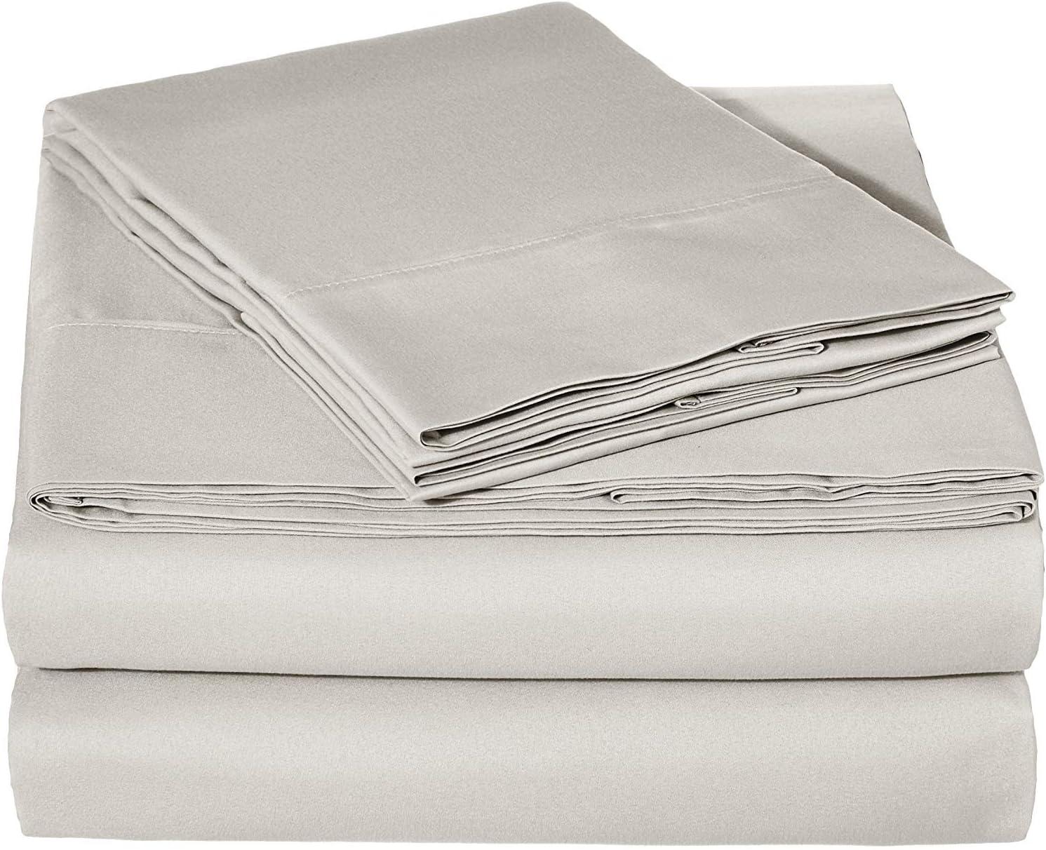 4PCs Cal King Set Sheets Luxury Soft 100% Egyptian Cotton - Sheet Set for Cal King Sheets Set Silver Solid 800 Thread Count 14'' Deep Pocket (Cal King Silver Sheets)
