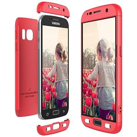 CE-Link Funda Samsung Galaxy S7, Carcasa Fundas para Samsung Galaxy S7, 3 en 1 Desmontable Ultra-Delgado Anti-Arañazos Case Protectora - Rojo/Red