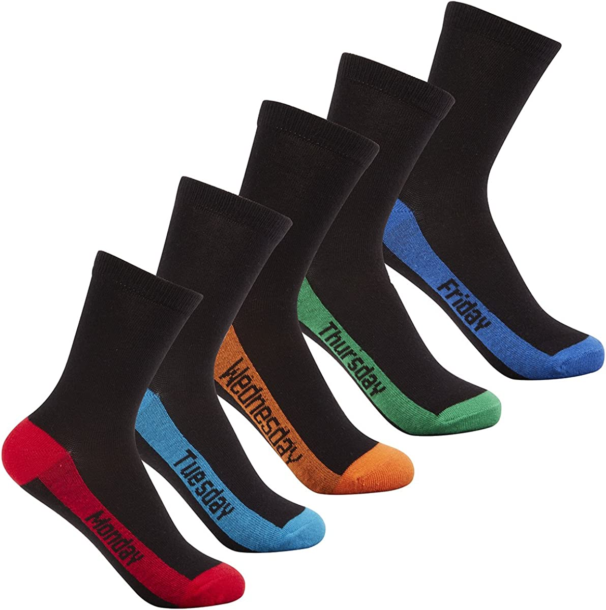 Street Essentials Boys Socks with Coloured Toes /& Heels