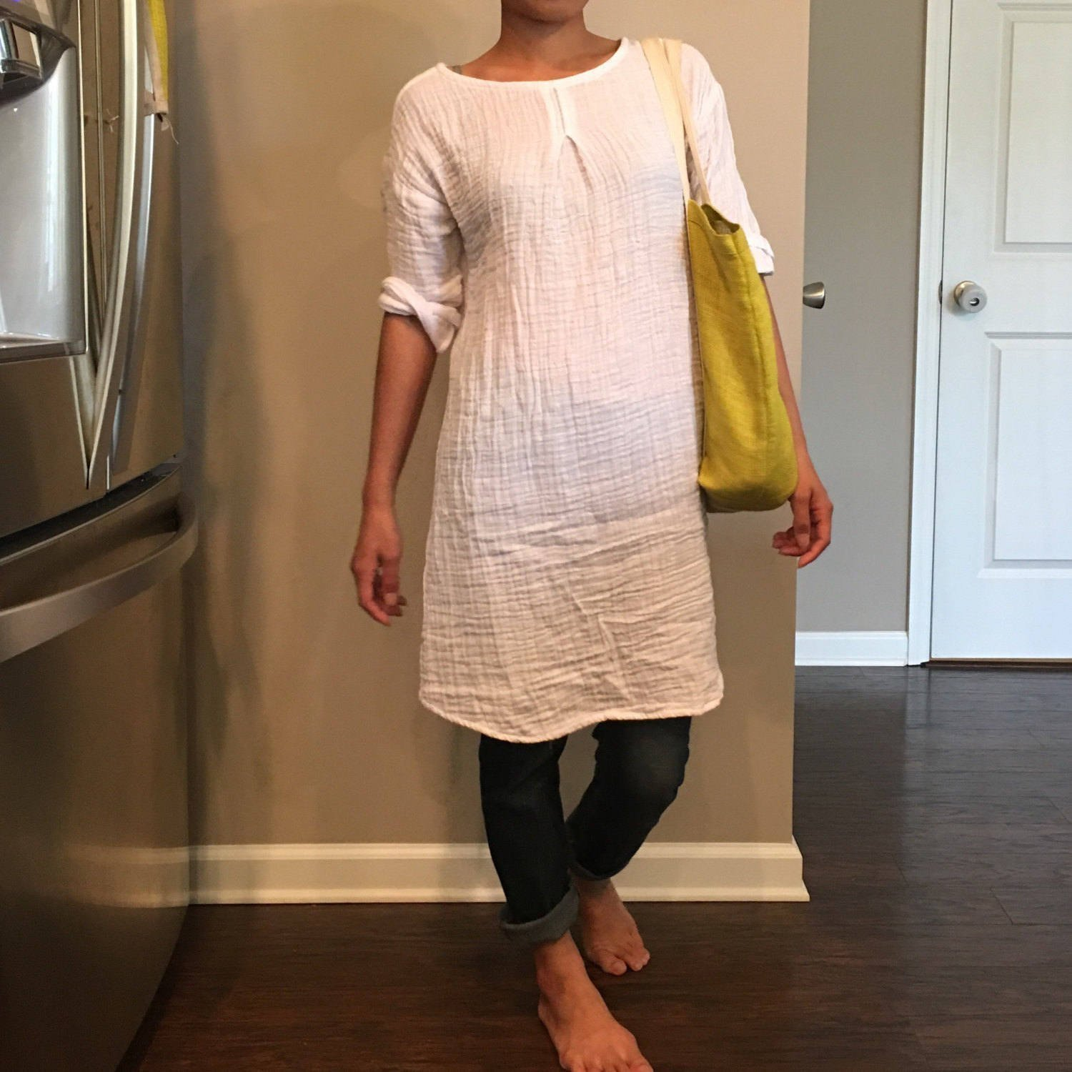 Muslin dress/Gauze Tunic/Washed/Textured/100% DOUBLE gauze cotton/cotton dress/long tunic/long top/three-quarter sleeve