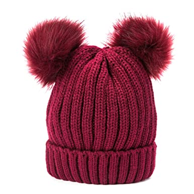 958331b9bc5 Tinksky Women s Knitted Hat Winter Chunky Beanie Hat with Double Faux Fur  Pom Pom Ears (