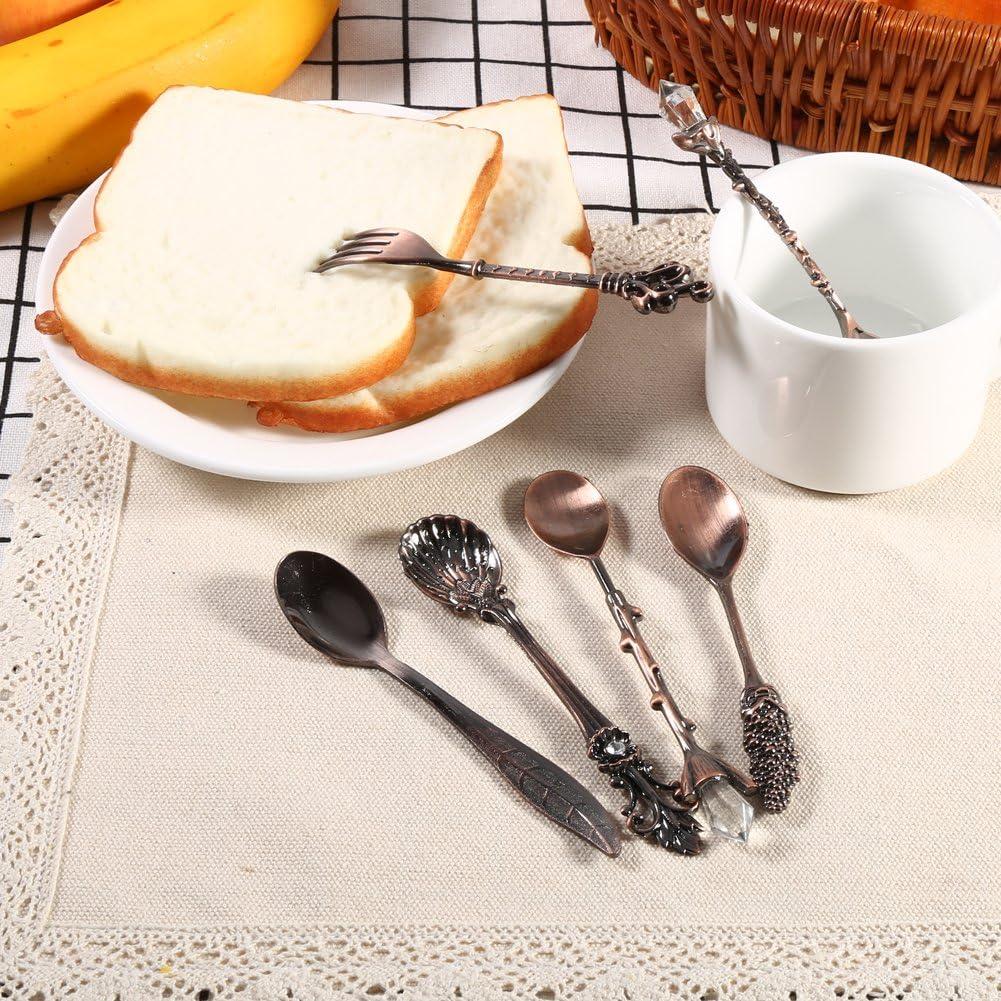 Fdit 6//Kit de Couverts Vintage Cuill/ère /à Dessert Caf/é Cuill/ère /à Th/é Glace Fruits Fourchette Royal Style M/étal Mini Sculpt/é Harnais Mignon pour Cuisine Salle /à Manger Bar des Collations Antik