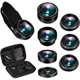 Cell Phone Camera Lens, AiKEGlobal 7 in 1 Wide Angle Lens, Macro Lens, Fisheye Lens, Telephoto Lens, CPL Lens, Starbrust and Kaleidoscope Lens Compatible iPhone, Samsung, Most Smartphone