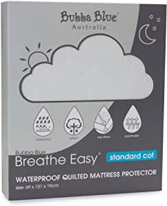 Bubba Blue Breathe Easy Waterproof Quilted Standard Cot Mattress Protector, White