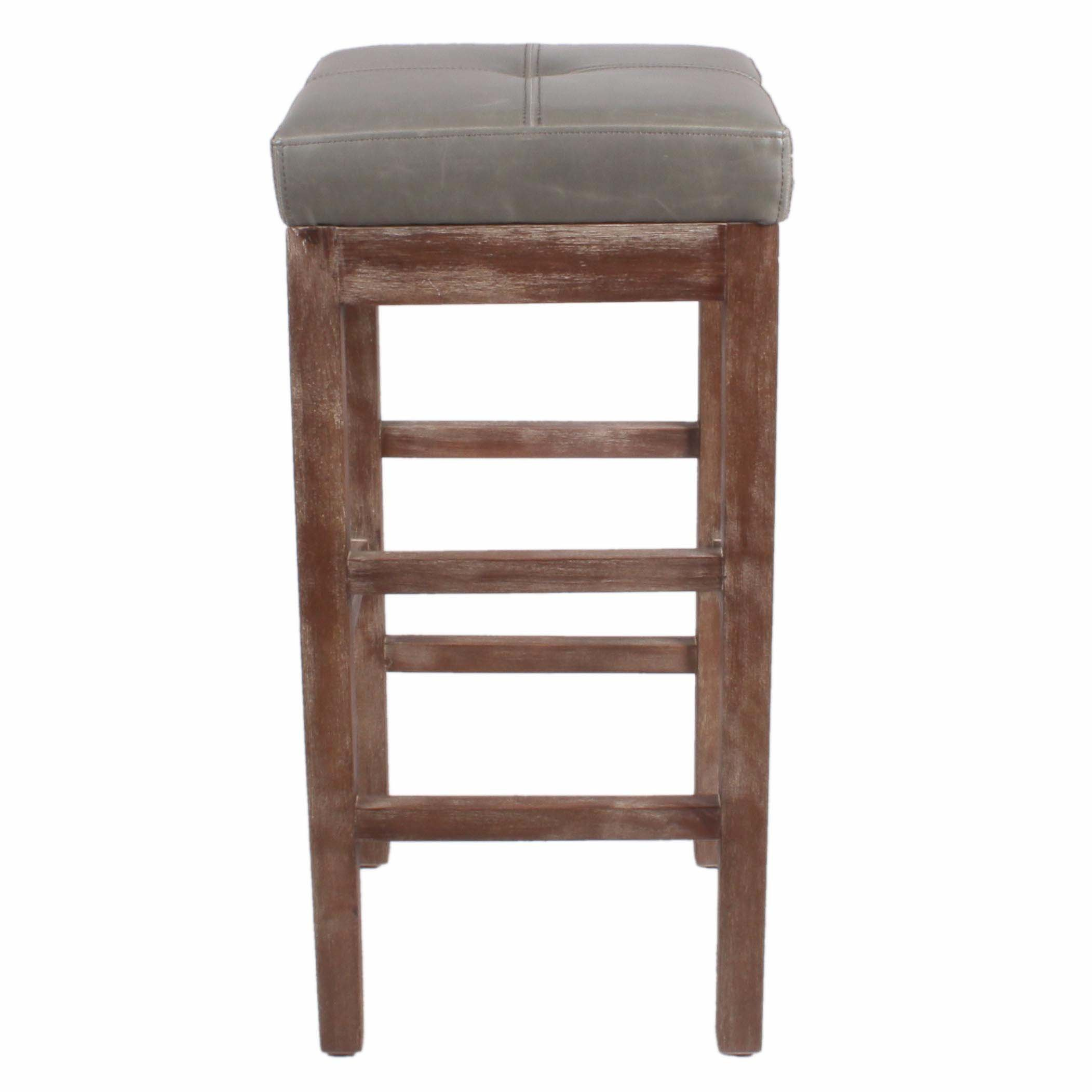 New Pacific Direct Valencia 27'' Bonded Leather Counter Stool, Drift Wood Legs, Vintage Gray by New Pacific Direct (Image #2)