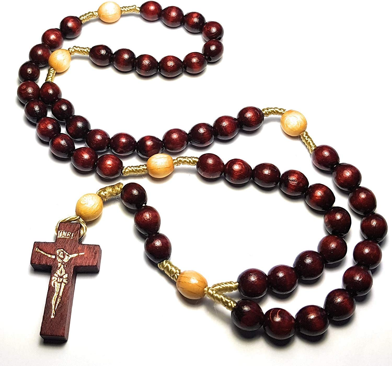 Made in Italy Rosary Blessed by Pope Francis Vatican Rome Holy Father Medal Cross Saint Benedict Patron Saint of Students Christian Veterans US Army solders Addiction Dependence Death (Cherry Small)