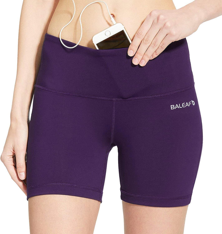BALEAF Womens 5 High Waist Workout Yoga Shorts Tummy Control Inner Pocket for 5.5 Mobile Phone