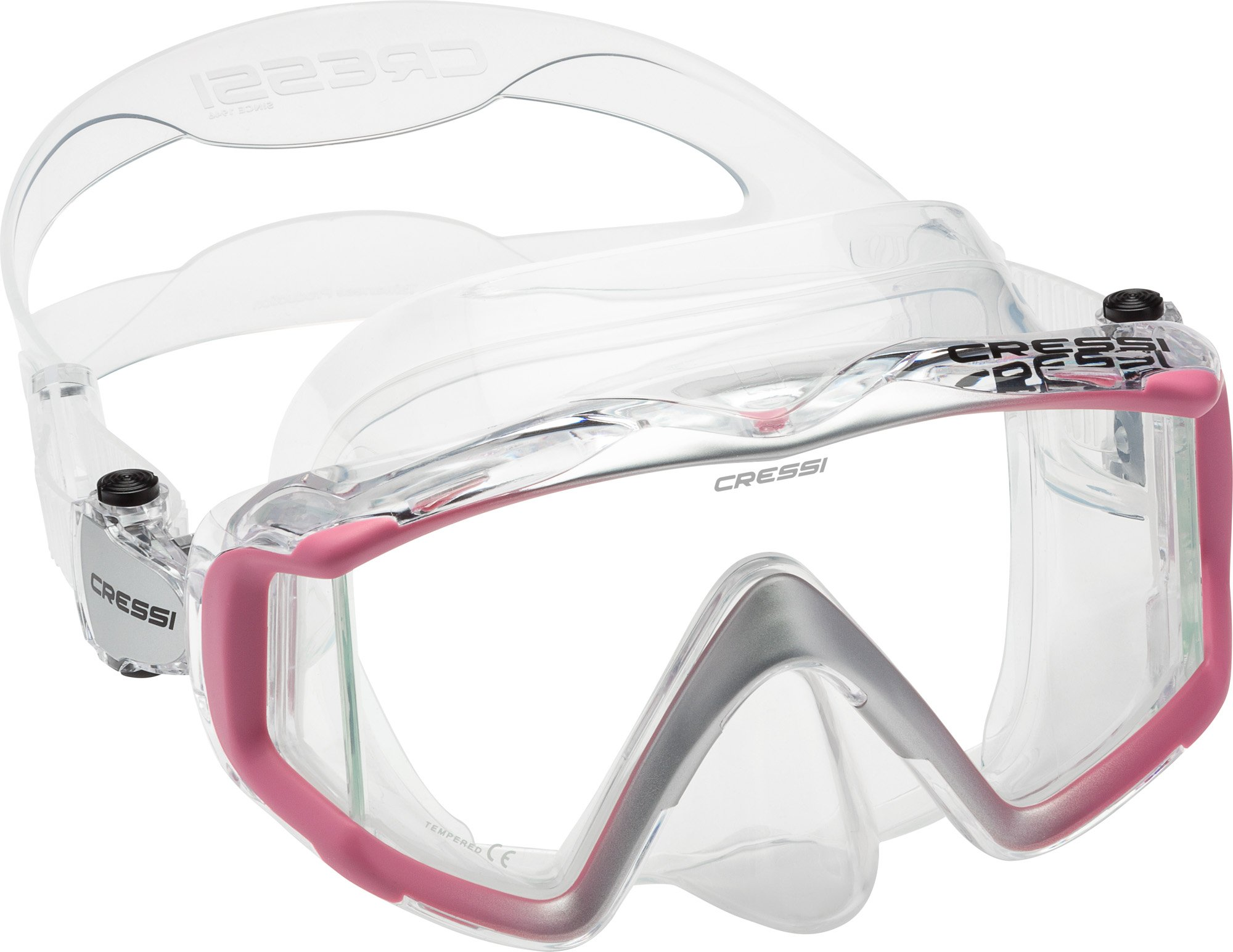 Cressi Liberty Triside Spe Diving Mask, Clear/Pink/Silver